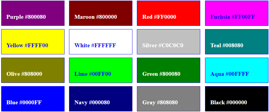 HTML colors  Names